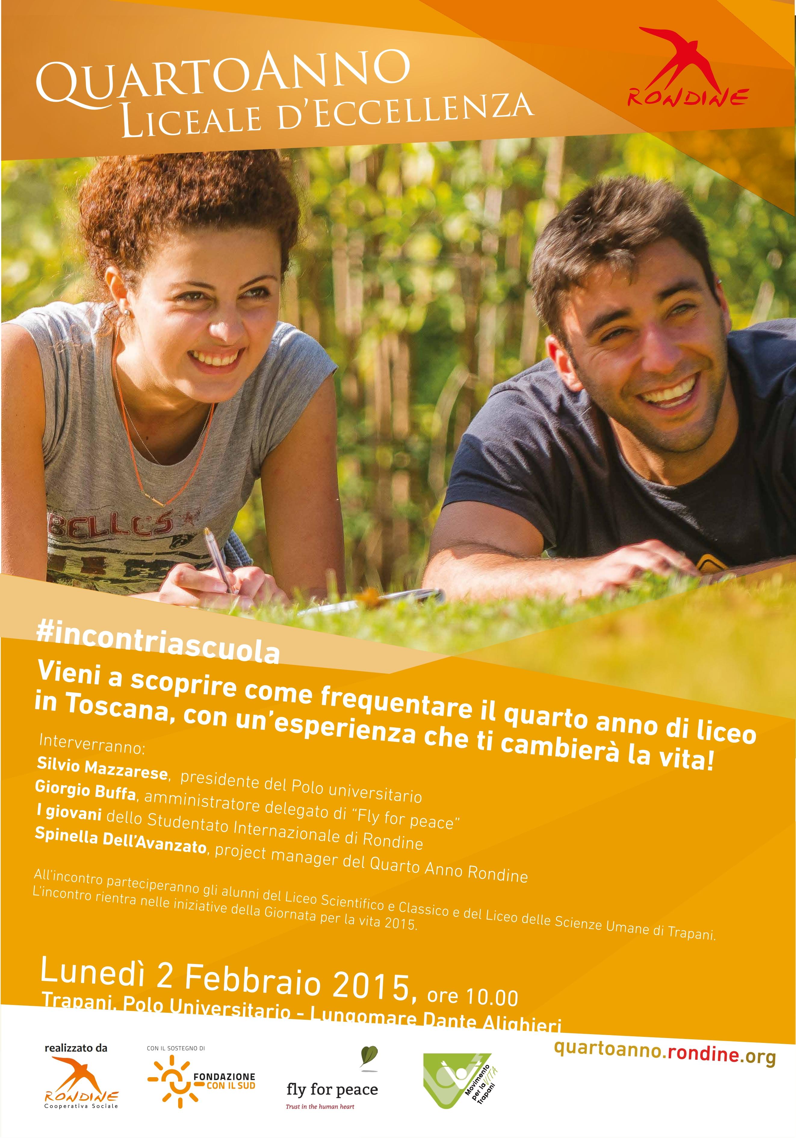 """Rondine in Sicilia con Fly for Peace per presentare il """"Quarto Anno"""""""