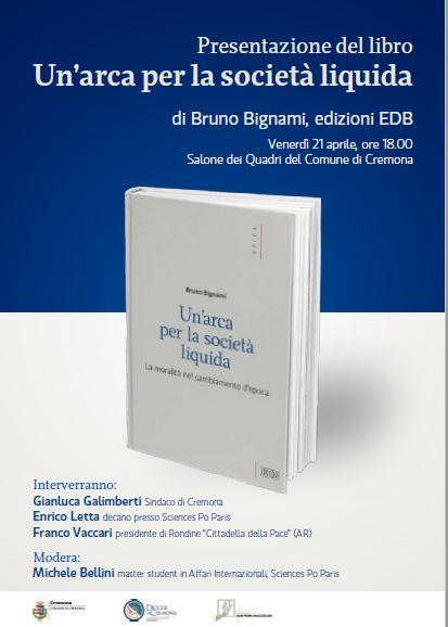 Franco Vaccari con Enrico Letta a Cremona per la presentazione dell'ultimo libro di don Bignami