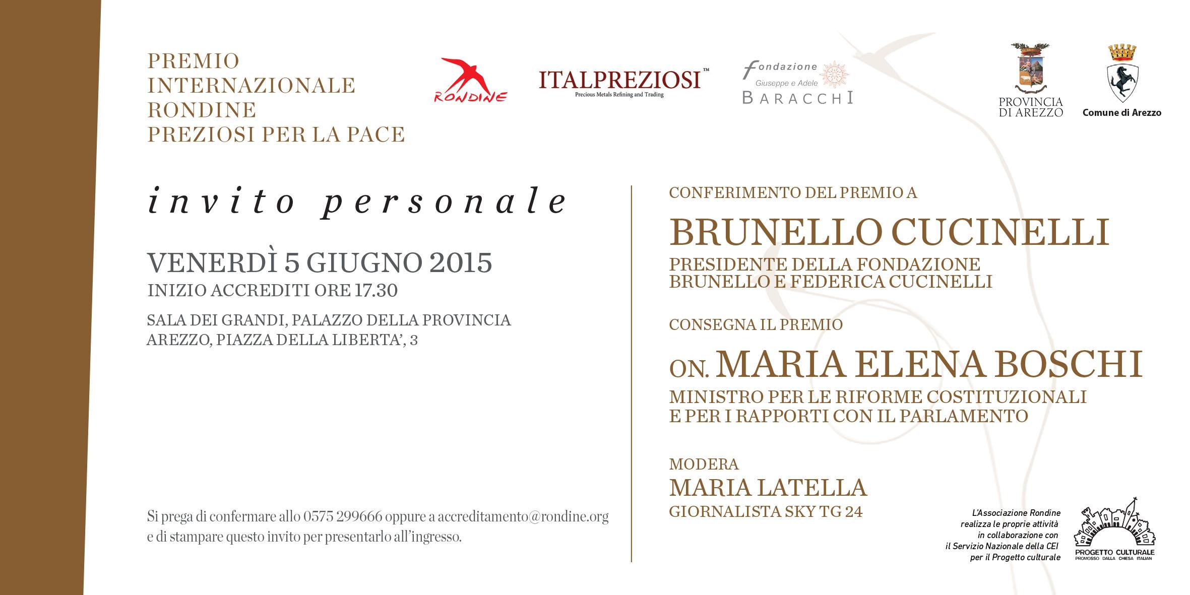 Il Ministro Boschi consegna il Premio Internazionale Rondine Preziosi per la Pace a Brunello Cucinelli