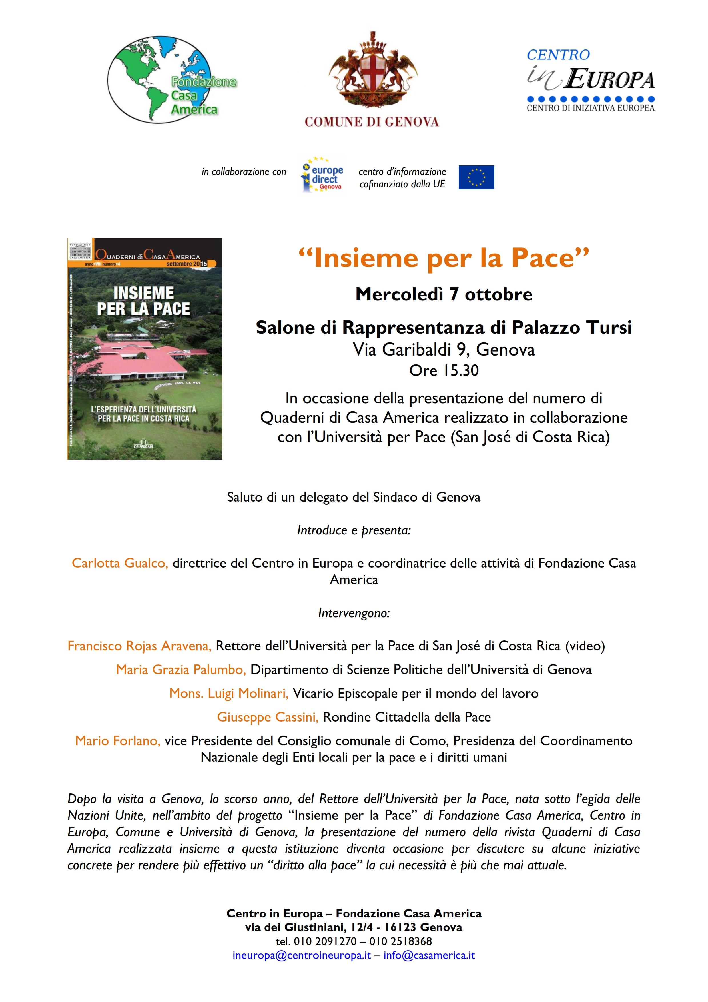 """Presentazione della pubblicazione """"Insieme per la Pace"""" della Fondazione Casa America"""