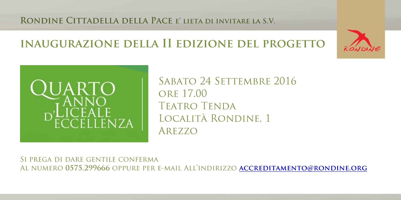 """Inaugurazione della seconda edizione del progetto """"Quarto Anno Liceale d'Eccellenza"""" a Rondine"""